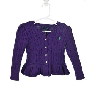 Ralph Lauren Purple Cotton Cardigan